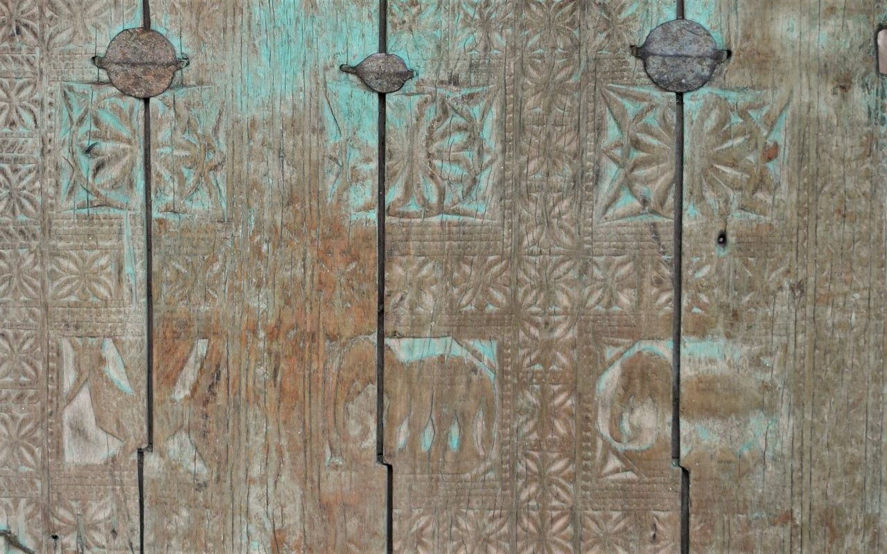 Antique Tribal Door With Animal Carvings Orissa Circa 1880